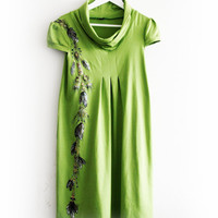 Apple Lime Green Cotton Dress Tunic Hand Painted size M-L Tribal Pattern Feathers Boho
