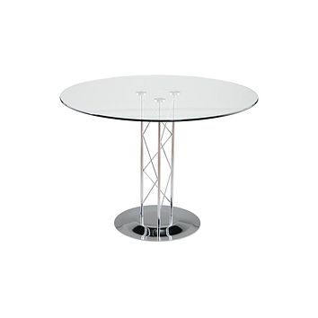 "Trave 36"" Round Dining Table in Clear Tempered Glass with Chrome Column and Chrome Base"