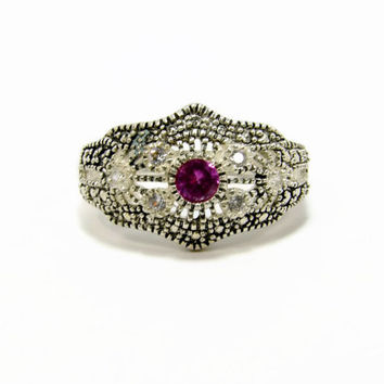 Sterling Silver Filigree Ring, Edwardian Style, Size 6, Pink Glass, Ladies Ring, Vintage Jewelry, Vintage Ring