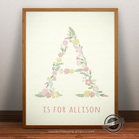 Custom Baby Name Allison Art- Letter A Monogram Nursery Art, Personalized Name, Initial Print, Baby Boy, Baby Girl, Initial, Nursery Print