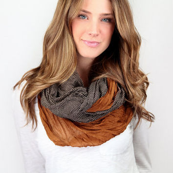 infinity scarf, color block, brown polka dot, cotton lightweight infinity scarf