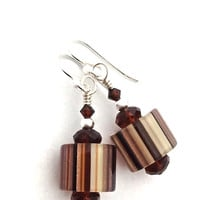 Brown Earrings for Women, Brown Glass, Fall Jewelry for Mom Grandma, Earth Tones