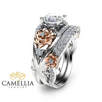 Engagement Ring and Band-14K Two Tone Solid Gold Diamond Ring-Two Tone Engagement Ring-Diamond Engagement Ring and Band