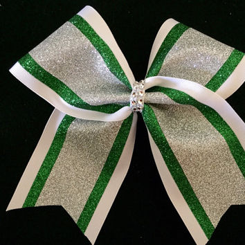 "Rhinestone and glitter cheer, softball, volleyball 3"" hair bow with 3 colors"