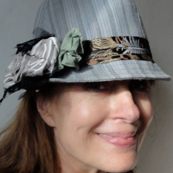 Decorated Fedora Hat, Funky Urban Chic