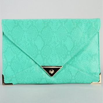 Mint Green Snake Print Clutch
