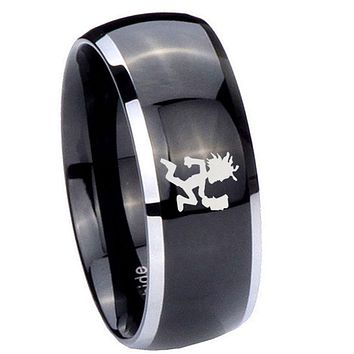 8MM Glossy Black Dome Hatchet Man 2 Tone Tungsten Laser Engraved Ring