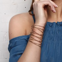 Open Ended Wire Cuff Bracelet - Gold