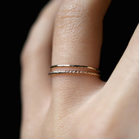 14K Gold fill Twist stacking rings, gold stack ring, skinny gold stackable ring, gold fill twist ring set, delicate gold ring, set of 2