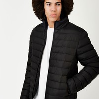 The Idle Man Polyester Padded Puffer Jacket Black