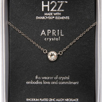 Liza Birthstone April Crystal Crystal Pendant Necklace
