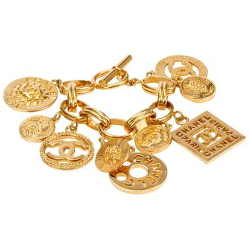 1990s Chanel Coco Gold Charm Bracelet
