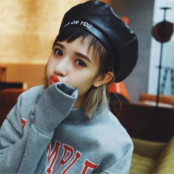 DoreenBow Fashion PU Leather Beret Hat For Women Winter Warm Letters Hats Girls Casual High Quality Chic Korean Punk Style