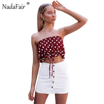 Polka Dot Lace-up Crop Tops Casual Tube  Top