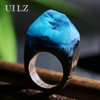 New Arrival Sky Blue Resin Wooden Rings Creative Handmade Rings for Women Fashion Jewelry
