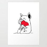Frenchie Heart Art Print by Huebucket
