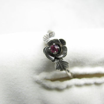 Antique Sterling Silver Victorian Amethyst Rose Ring