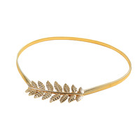 Gold Vintage Skinny Elastic Belt Leaf Design Clasp Metal Waist Belt for Women