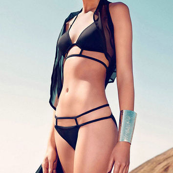 Black Halterneck Bikini with Strappy Cut-Outs Detail