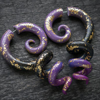 Space Jewelry, Galaxy Earrings, Octopus Fake Plug, Fake Gauge Earrings, Tentacle Ear Plug, Ear Gauges, Gold Leaf Earrings, Gypsy Faux Gauges