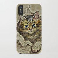 VINTAGE KITTEN DRAWING PRINT iPhone Case by digitaleffects