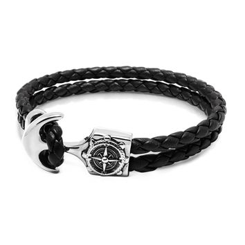 Men's Black Leather Bracelet with Silver Compass Anchor