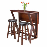 "Harrington 3-Pc Drop Leaf High Table, 2-24"" Cushion Round Seat Stools"