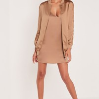 Missguided - Carli Bybel Longline Lace Up Bomber Jacket Rose Gold