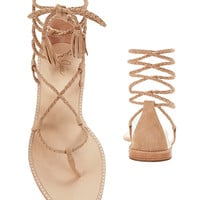 Joie Bailee Braided Lace-Up Suede Sandal at INTERMIX | Shop Now | Shop IntermixOnline.com