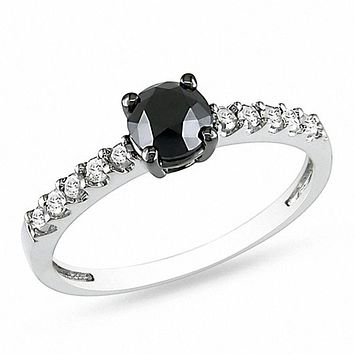 1 CT. T.W. Enhanced Black and White Diamond Engagement Ring in 14K White Gold