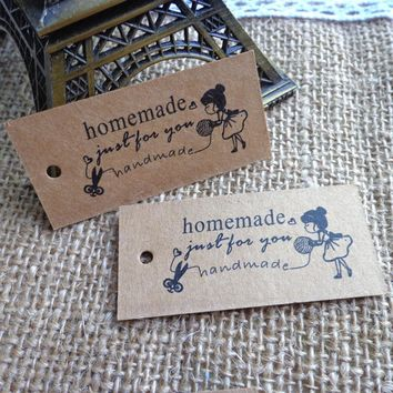 50pcs Craft Girl Homemade DIY Kraft  Gift Tag Party Wedding Message Gift Tag Hang Tag,Craft Cards Label Hemp String Included