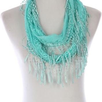 Scarf Crochet Fringed Lace Infinity
