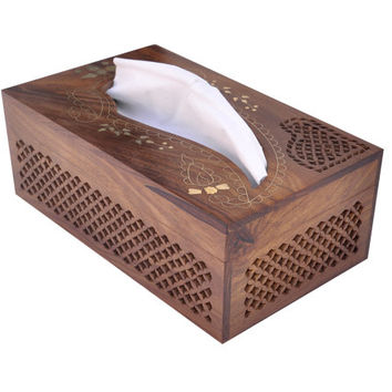 Wooden Tissue Box Holder Hand-carved with Brass Inlays, Intricate Latticework, and a Paisley Design Opening