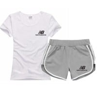 NB New Balance Women Men Fashion Sport Shirt Shorts Set Two-Piece Sportswear
