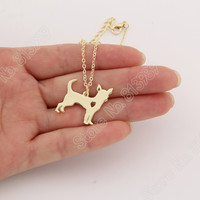 1pc Gold Chihuahua Necklace Pendant Puppy Heart Dog Lover Memorial Pet Necklaces & Pendants Women Animal Charms Christmas Gift