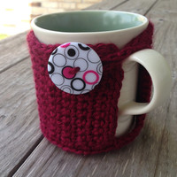 Texas A & M Crochet Coffee Mug Cozy - Aggie Coffee Cozy - Retro Coffee Cozy - Coffee Accessories - Maroon Cozy - Mug Cozy, Eco Friendly Cozy