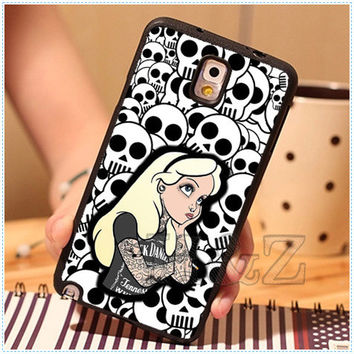 Tattoo Alice in Wonderland Punk Skull Solf TPU Mobile Phone Cases For Samsung galaxy S3 S4 S5 Note 2 Note 3 Note 4 Case Cover