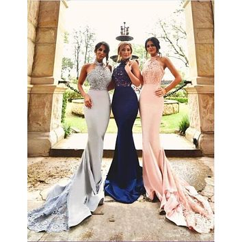 Custom Made Navy Silver Pink Satin Lace Applique Halter Long Bridesmaid Dresses Mermaid Dress For Wedding Party