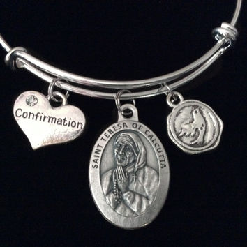 Confirmation Saint Teresa of Calcutta Expandable Charm Bracelet Silver Adjustable bangle Mother Teresa Medal Catholic Gift Dove
