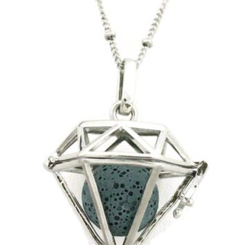 """Radiant"" Large Diamond Lava Stone Essential Oil Diffuser Necklace- 30"""