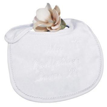'My Godfather Loves Me' Embroidered Baby Boys or Girls Christening Bib White Terry Velour