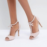 Head Over Heels By Dune Mercedes Pearl Trim Heeled Sandals at asos.com