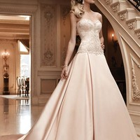 Casablanca Bridal 2123 Strapless Beaded Satin Ball Gown Wedding Dress