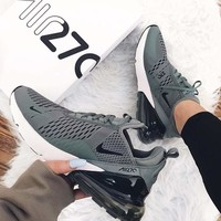 Nike Air Max 270 men and women The air cushion shoes Grey