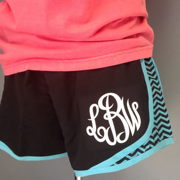 Womens Girls Monogrammed Running Shorts Chevron Plaid Vinyl Glitter