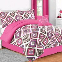 NEW! Kids Teen Bedding Santana Pink Comforter Multi Color Diamond Twin Set 2986