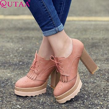 QUTAA 2017 Fashion Ladies Shoes PU leather Tassel Wedge Low Heel Platform Lace Up Woman Pumps Women Casual Shoes Size 34-42