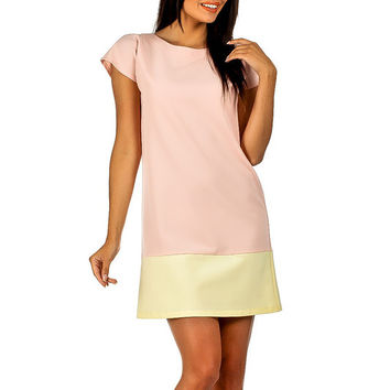 Summer Style Women T-Shirt Dresses Pink Short Sleeve O-neck Mini Party Shift Dress Vestidos