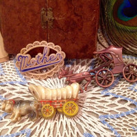 Rare Collection of 1940's Celluloid C-clasp Pin Brooch   Vintage horse and carriage, Mother, Cattle and wagon  Vtg Celluloid Brooch Pin (3)