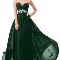 Sunvary Sweety Chiffon Bridesmaid Party Dresses Floor Length Prom Gowns for Pageant US Size 10- Dark Green
